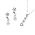 Storm Dangling Stars Silver Earrings and Necklace Set with Zirconia Stones