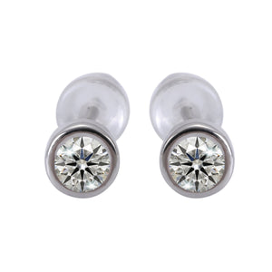 Selene Round Dainty Silver Stud Earrings Set with Cubic Zirconia