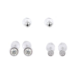 Selene Round Dainty Silver Microstud Earrings Set with Cubic Zirconia