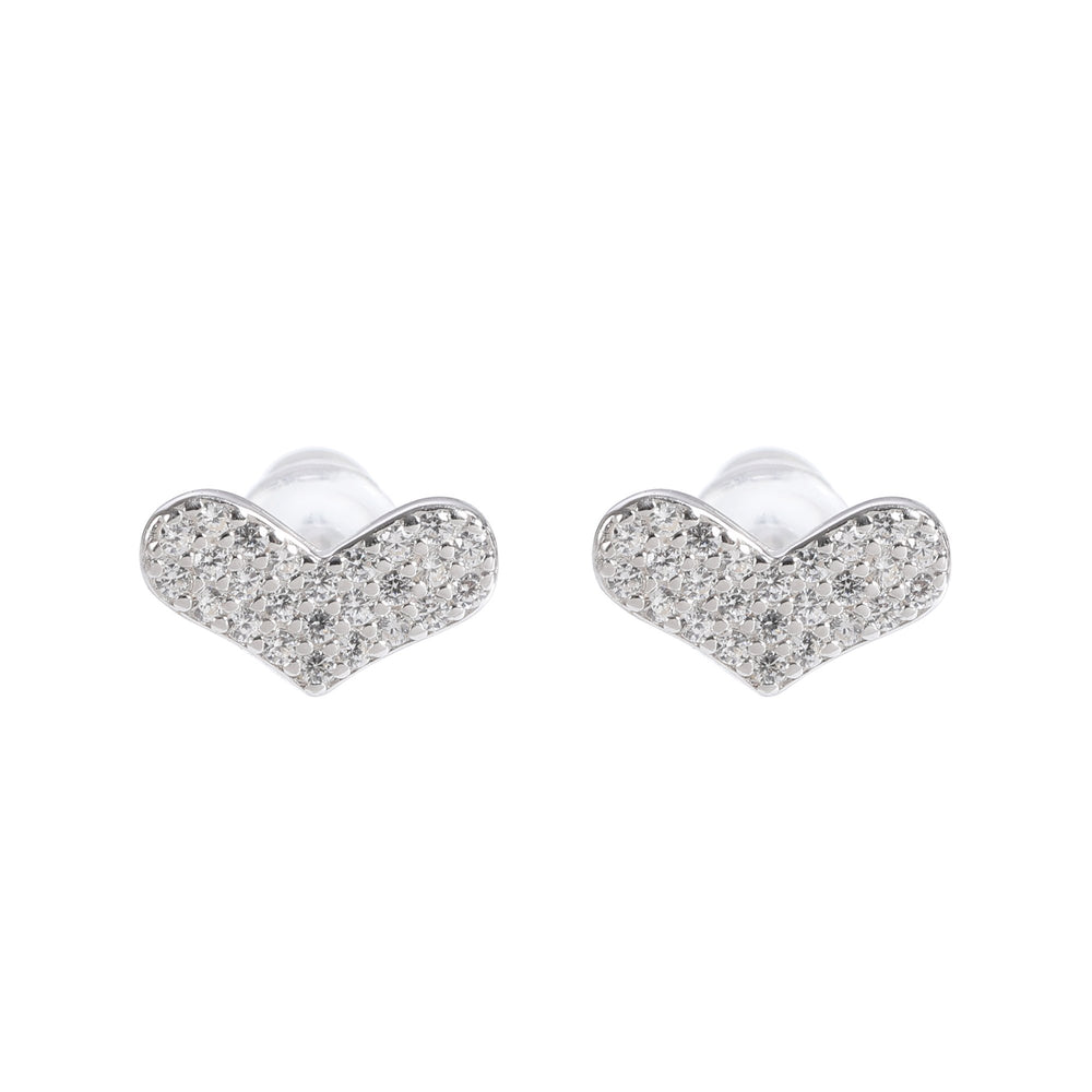 Shahira Silver Stud Earrings Set Round Heart and Triangle with Cubic Zirconia