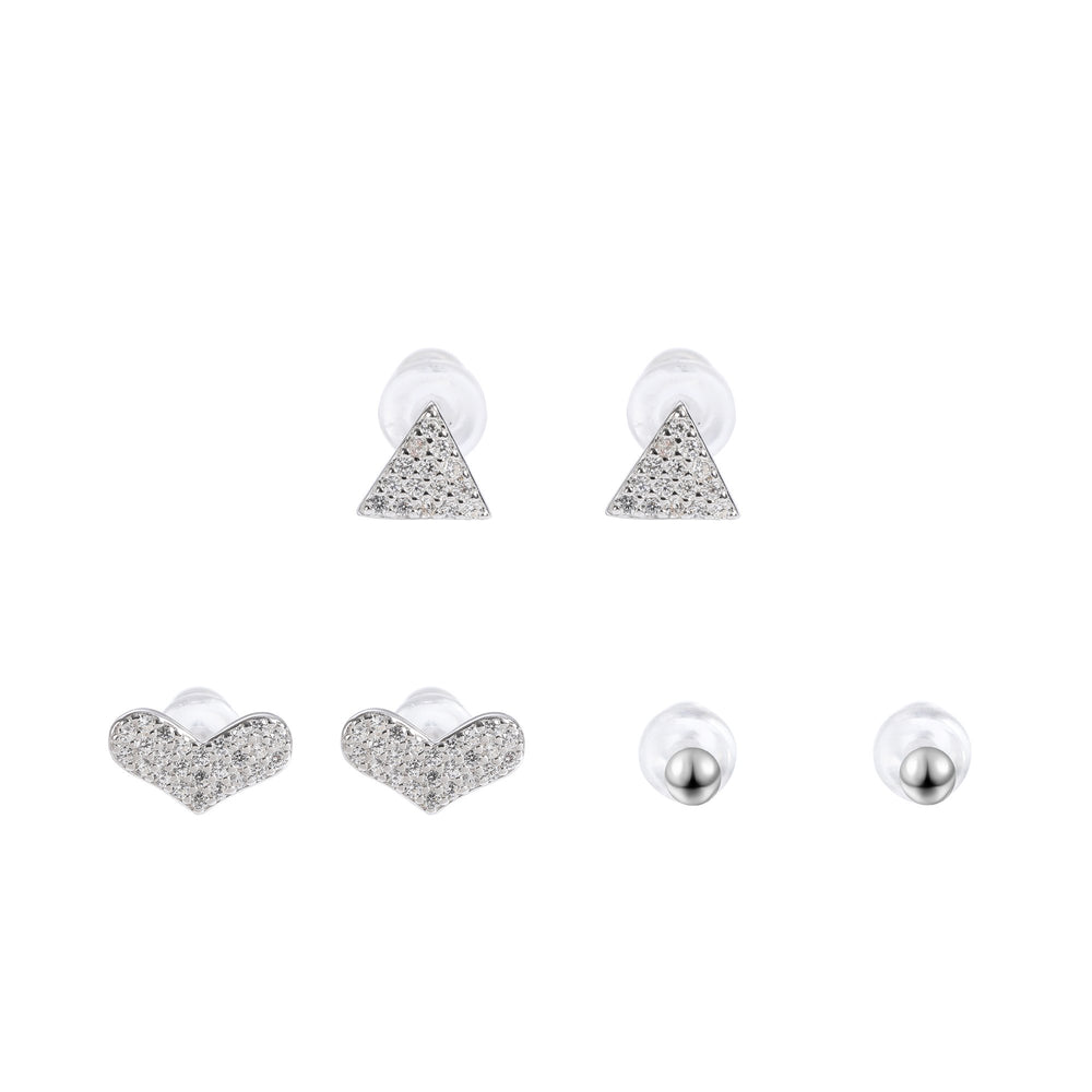 Shahira Silver Microstud Earrings Set Round Heart and Triangle with Cubic Zirconia