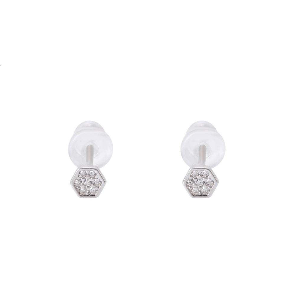 Speranza Hexagon Silver Stud Earrings Set