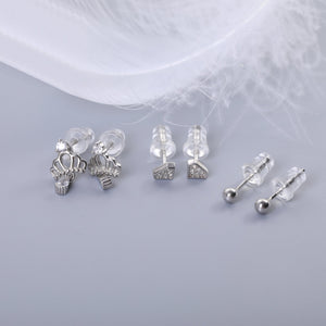 Shakira Silver Stud Earrings Set Crown Diamond and Round with Cubic Zirconia