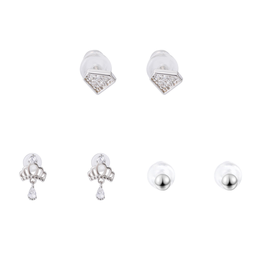 Shakira Silver Microstud Earrings Set Crown Diamond and Round with Cubic Zirconia