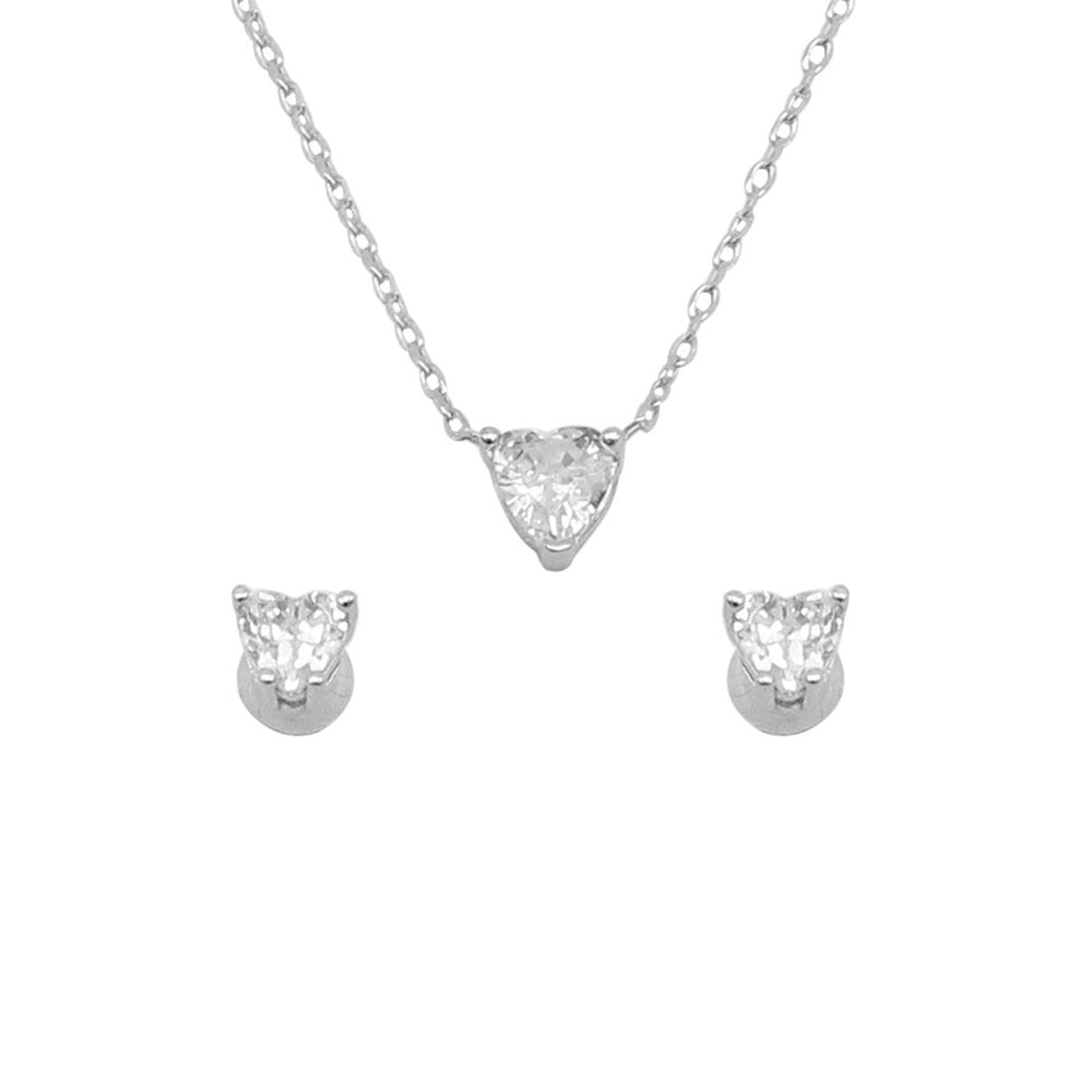 Serene Heart Silver Earrings and Necklace Set with Zirconia Stones