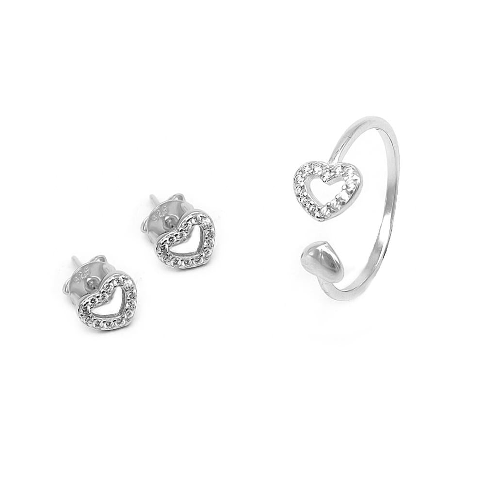Sylvia Open Heart Silver Earrings and Rings Set