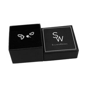 Sylvia Open Heart Silver Earrings and Rings Set Box Packaging