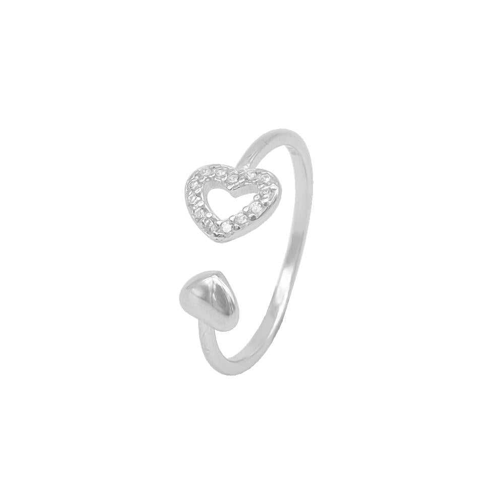 Sylvia Open Heart Silver Earrings and Rings Set 5
