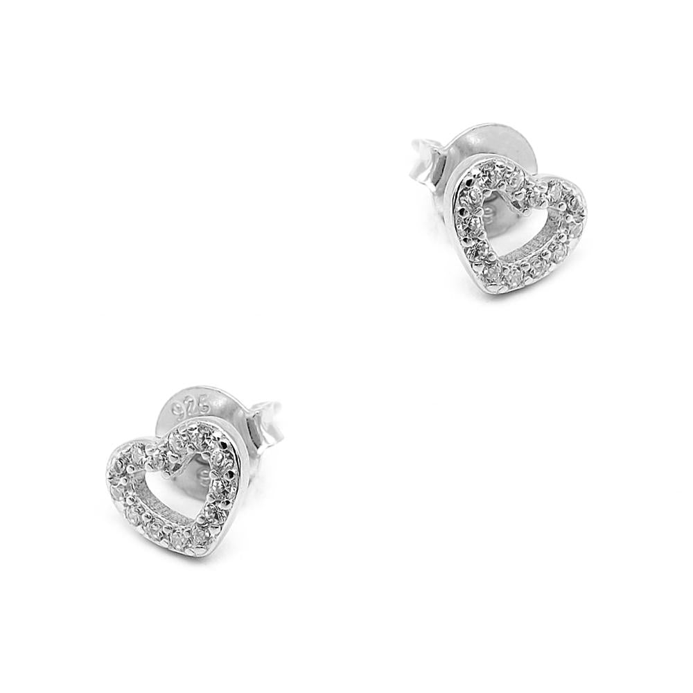 Sylvia Open Heart Silver Earrings and Rings Set 4