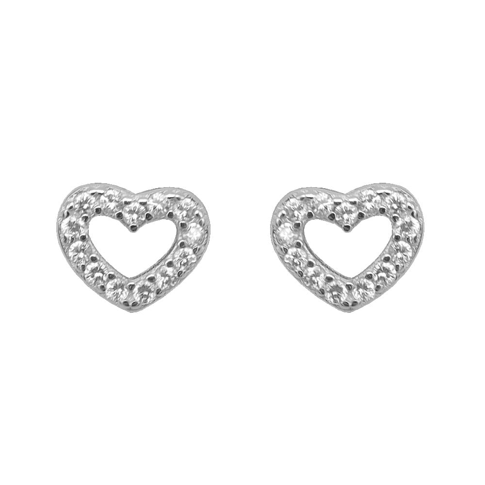 Sylvia Open Heart Silver Earrings and Rings Set 2
