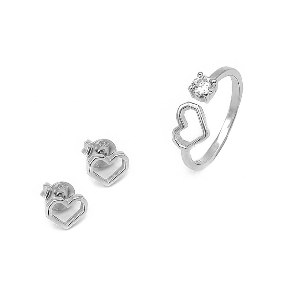 Sofia Open Heart Silver Earrings and Rings Set