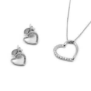 Stella Open Heart Silver Earrings and Necklace Set with Cubic Zirconia