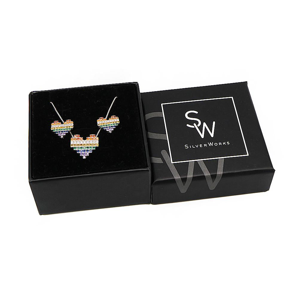 Sky Rainbow Pave Heart Silver Earrings and Necklace Set with Cubic Zirconia Box Packaging