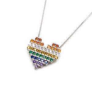 Sky Rainbow Pave Heart Silver Earrings and Necklace Set with Cubic Zirconia