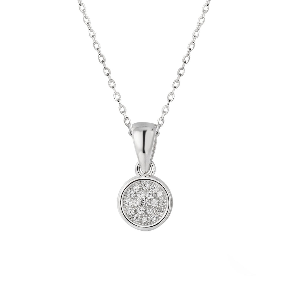 Sabrina Round Silver Earrings and Necklace Set with Cubic Zirconia 3