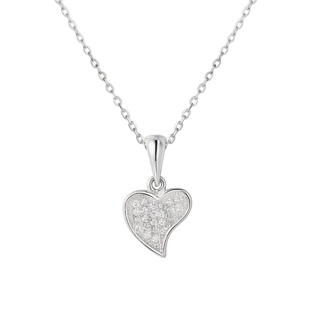 Samantha Heart Silver Earrings and Necklace Set with Cubic Zirconia 2