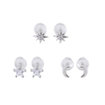 Sandara Silver Microstud Earrings Set Star Moon and Star Light set with Cubic Zirconia