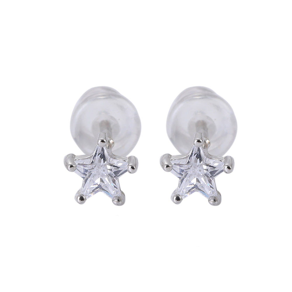 Sandara Silver Stud Earrings Set Star Moon and Star Light set with Cubic Zirconia