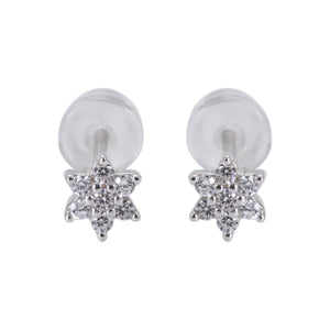 Santana Silver Stud Earrings Set Round Flower and Heart with Cubic Zirconia