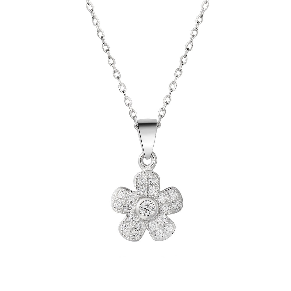 Sara Floral Silver Earrings and Necklace Set with Cubic Zirconia