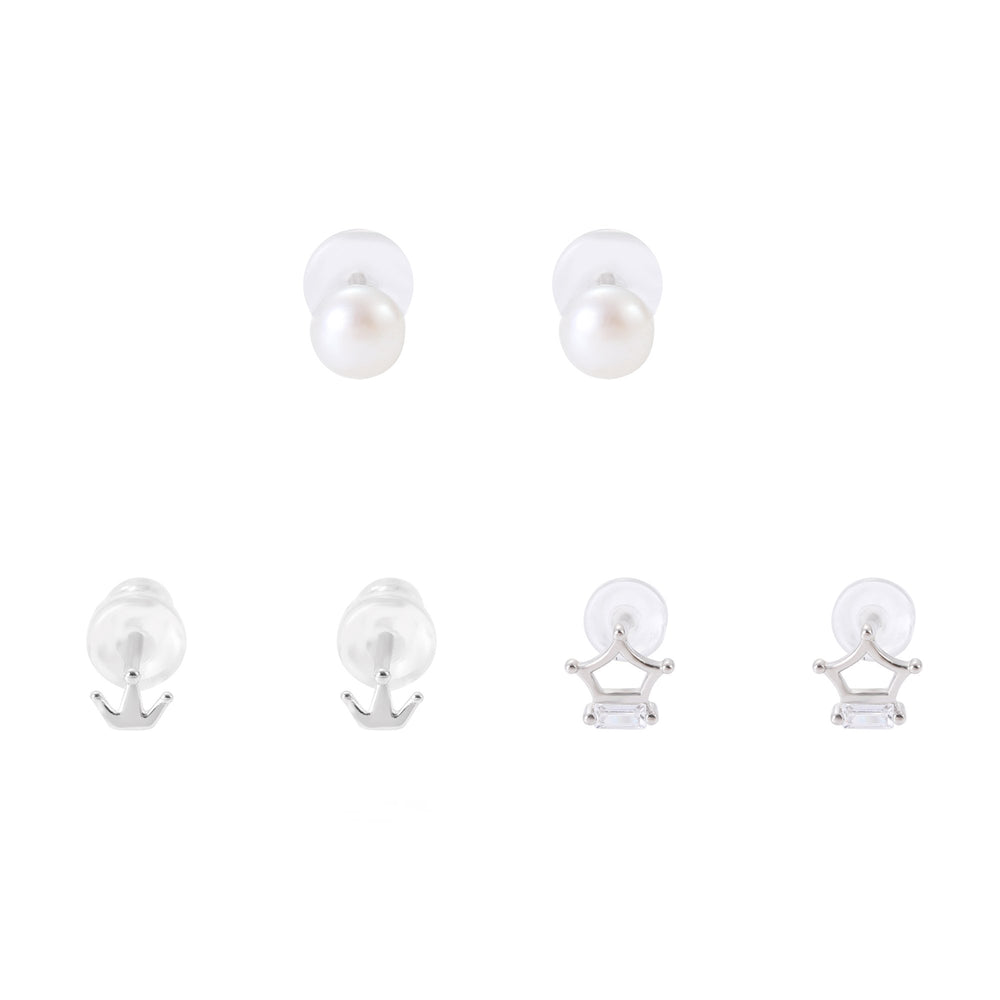 Scarlett Silver Microstud Earrings Set Pearl Small and Big Crown