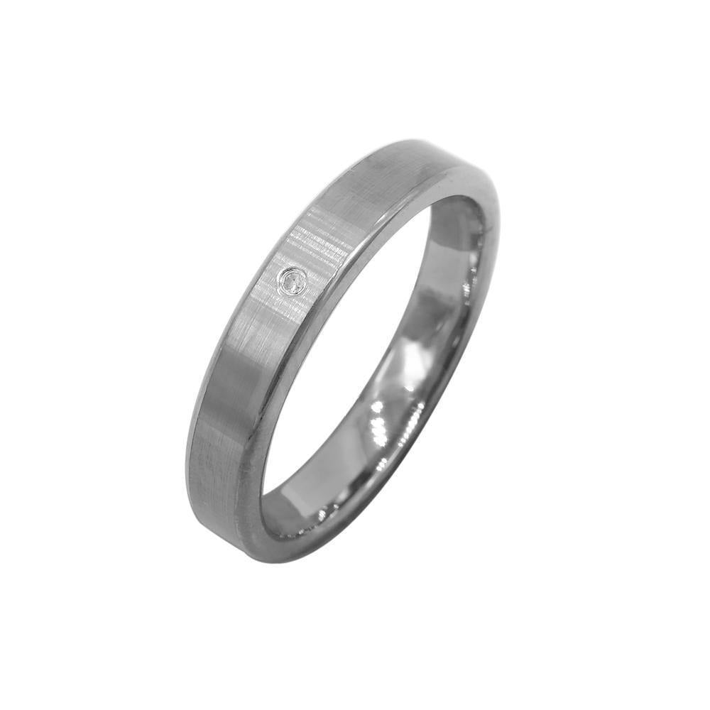 Matte Finished Silver Tungsten Ring with Diamond