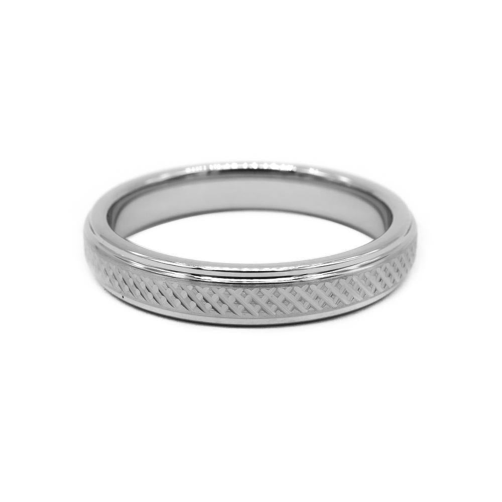 Criss Cross Silver Tungsten Ring with Polished Edges