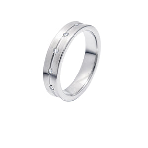 Supreme Classic Silver Tungsten Ring with Diamonds in Five Rows