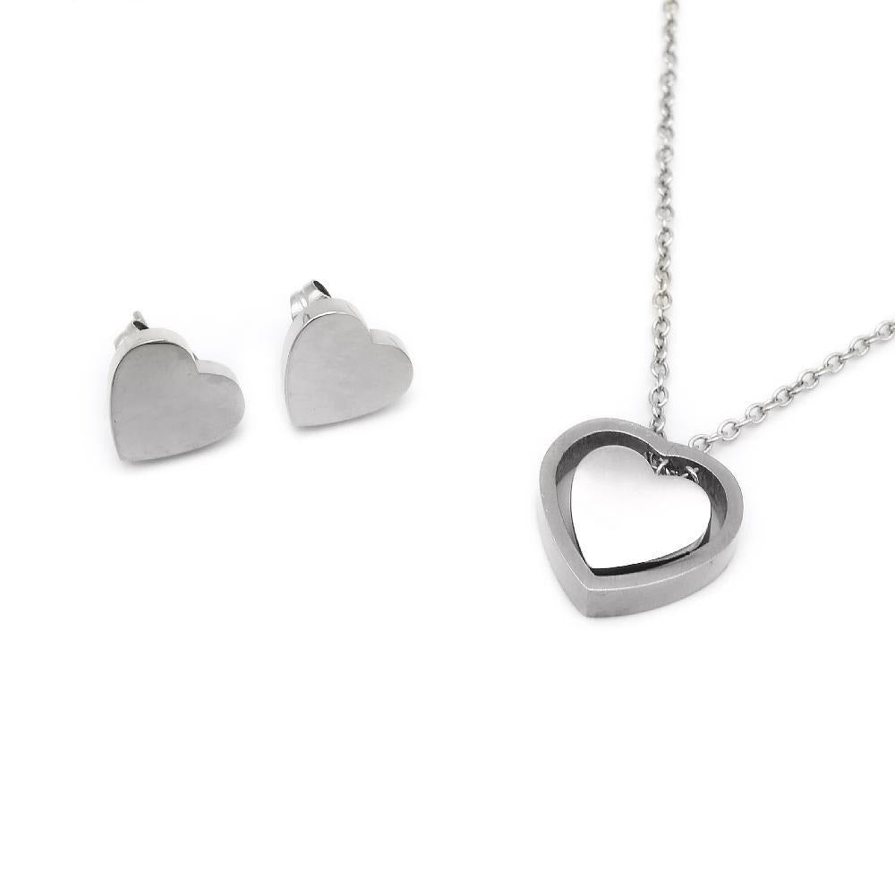 Double Heart Earrings and Necklace Set