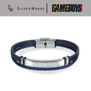 Gameboys Collection Double Leather Bracelet with Engraved Pass or Play 1