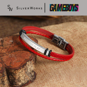 Gameboys Collection Double Leather Bracelet with Engraved Pass or Play