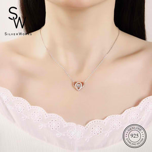 Hillary Silver Dancing Gem Heart Necklace in 18k Rose Gold Model