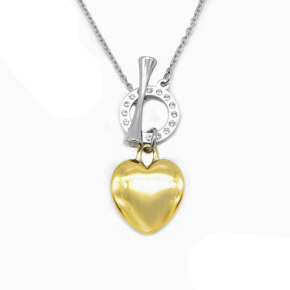 Gold Puff Heart Necklace