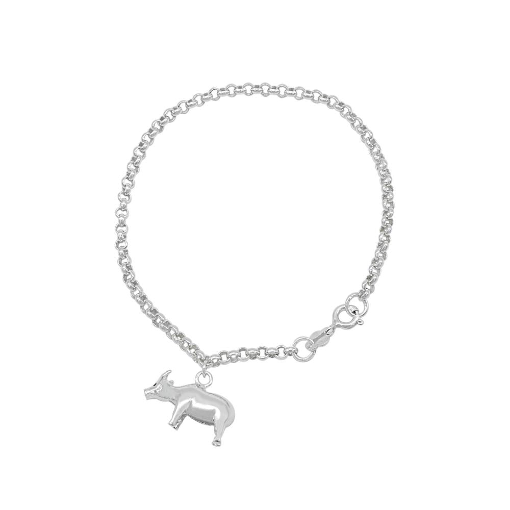 Load image into Gallery viewer, Cameron Carabao Charm Silver Bracelet with Rolo Chain