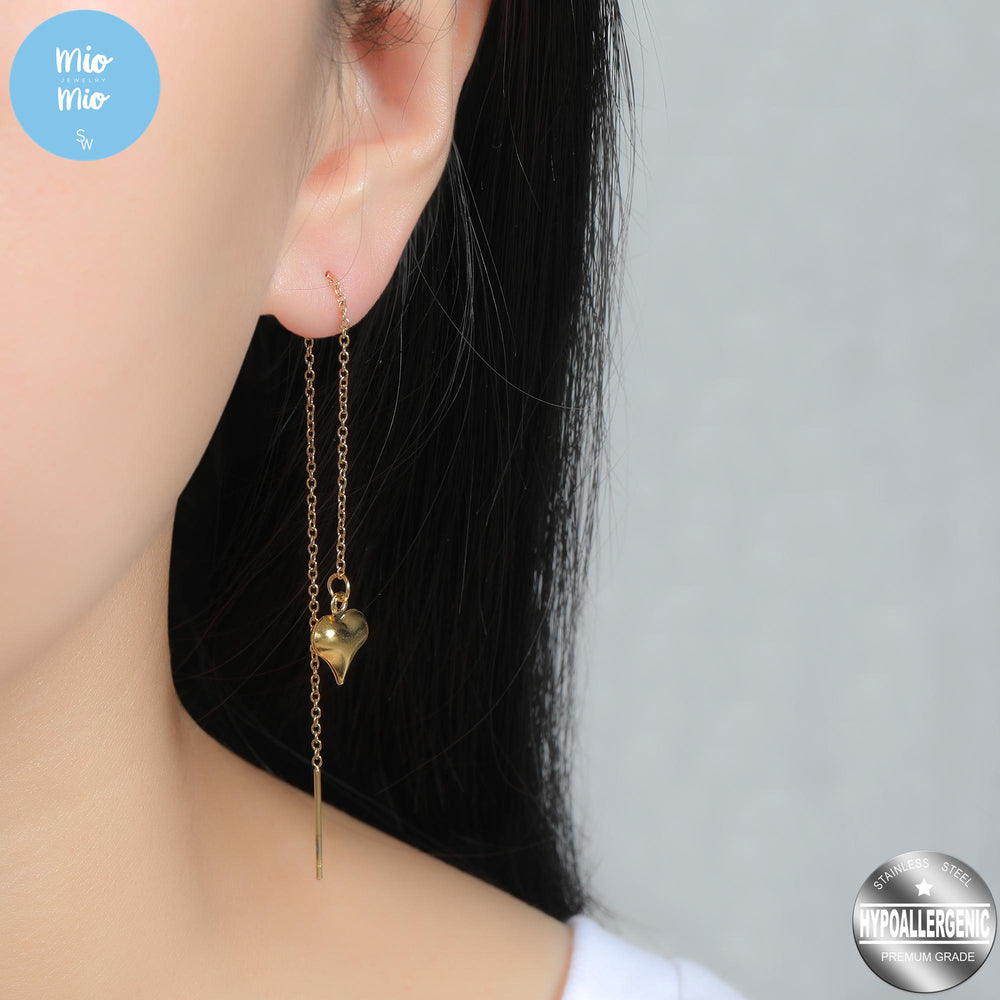 Load image into Gallery viewer, Korean-Style Puff Heart Drop Earrings