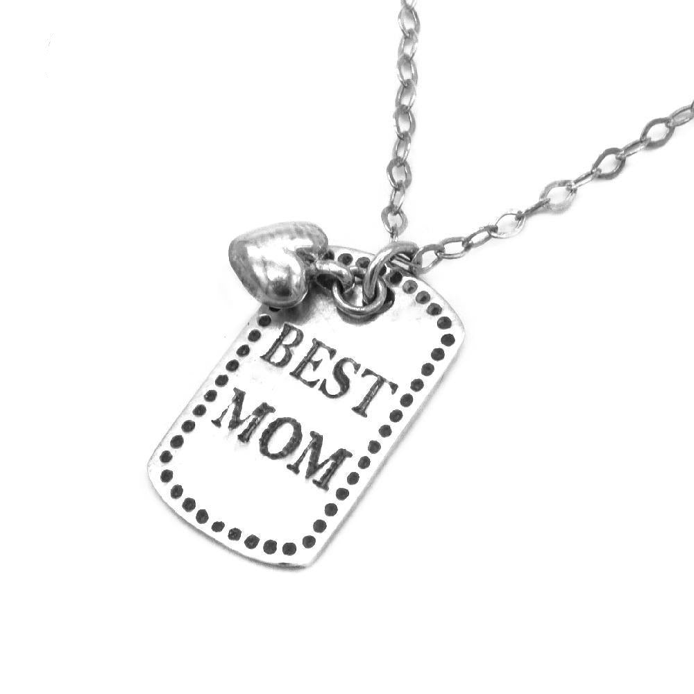 Best Mom and Puff Heart Pendant in Rolo Chain Necklace