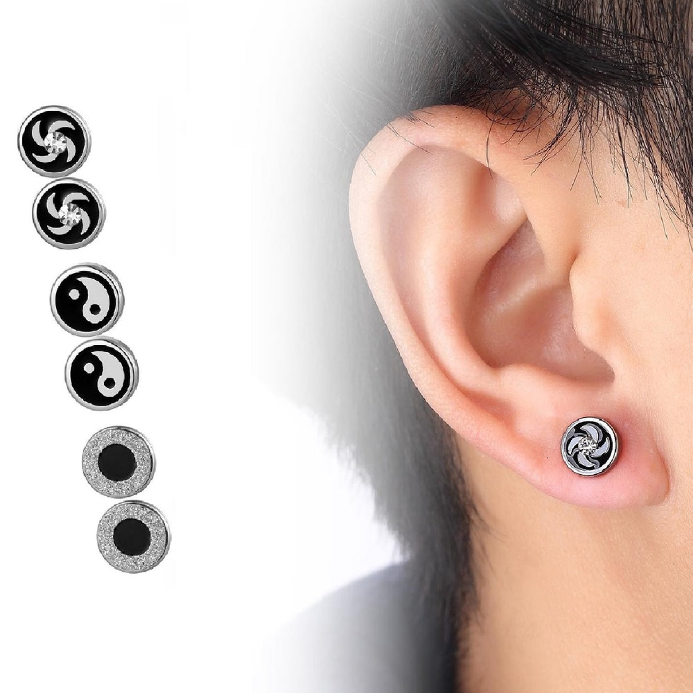 3 Set of Round Stud Earrings