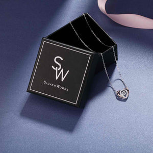 Load image into Gallery viewer, Hillary Silver Dancing Gem Heart Necklace in 18k Rose Gold Box Packaging