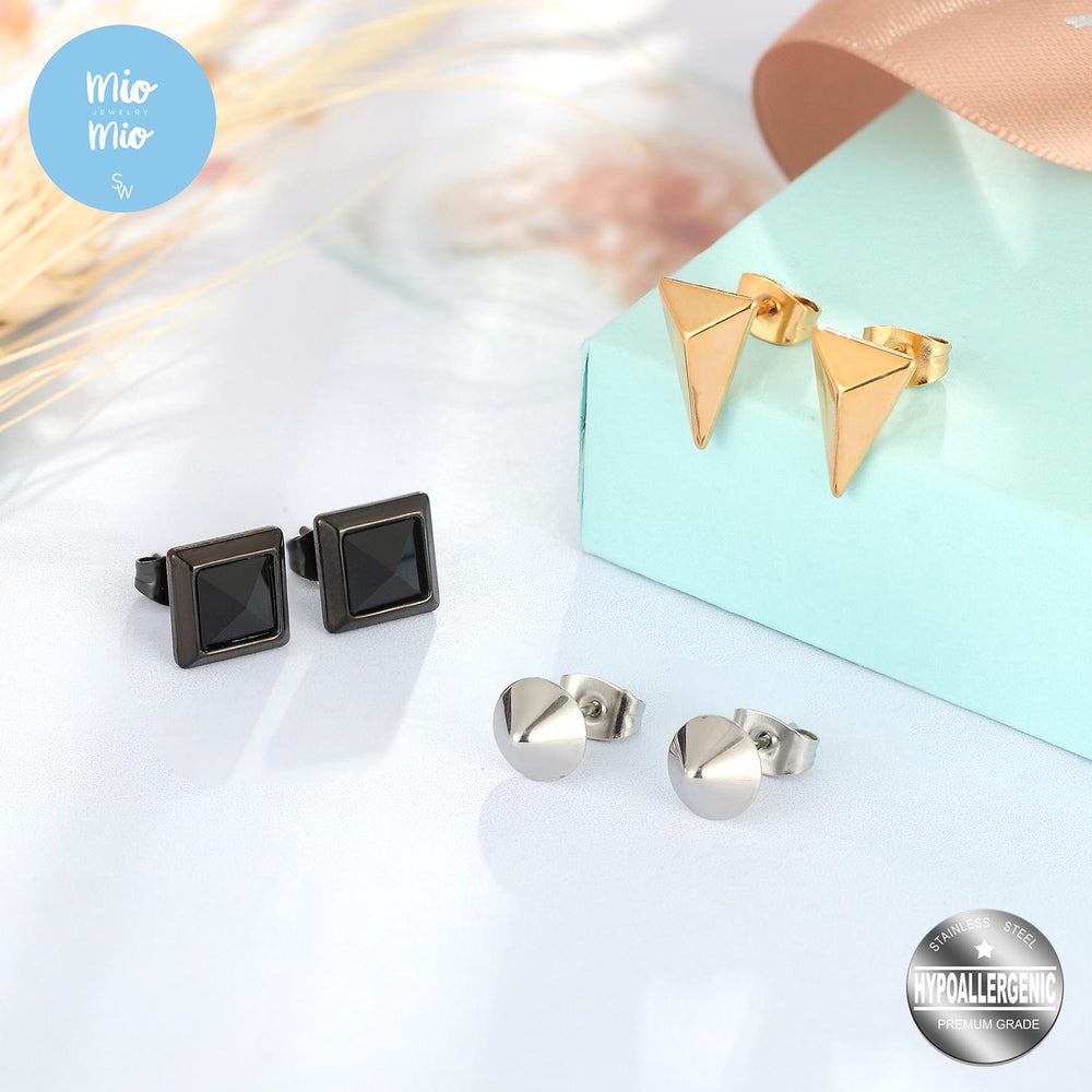 3 Pairs of Tri-Colored Stud Earrings