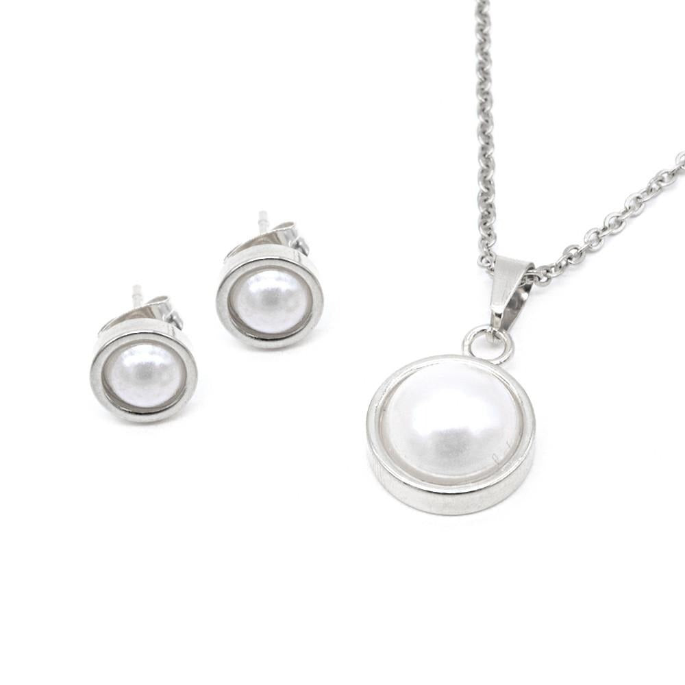 Pearl in Halo Frame Earrings and Necklace Set