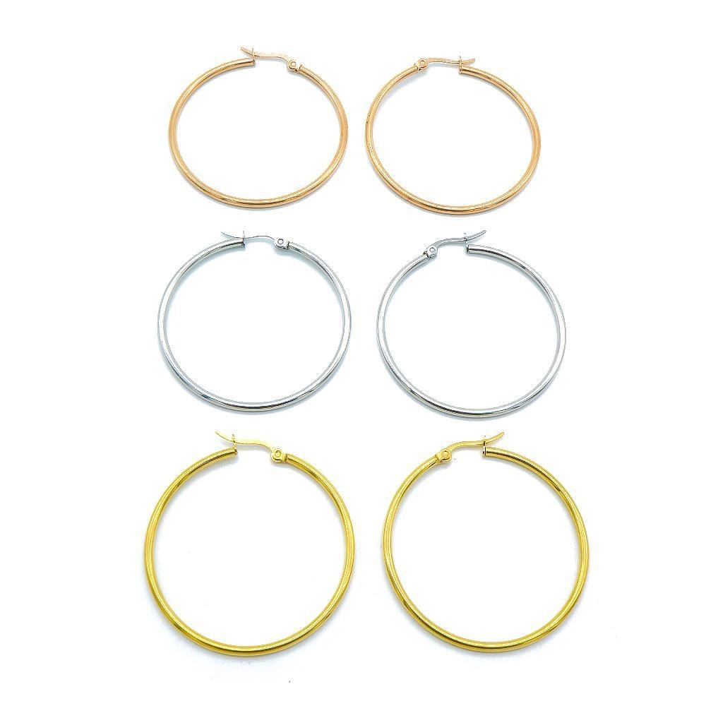 3 Sets of Mavi Hoop Earrings with Grey, Gold Plated and Rose Gold Plated Design