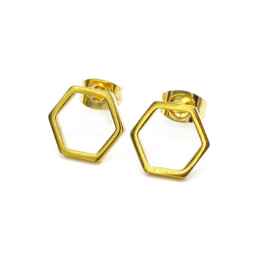 Open Hexagon Earrings and Necklace Set