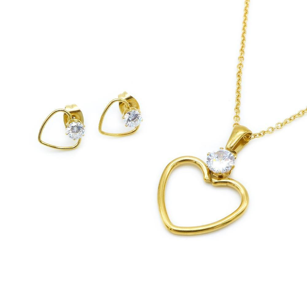 Open Heart with Simulated Diamond Earring and Necklace Set