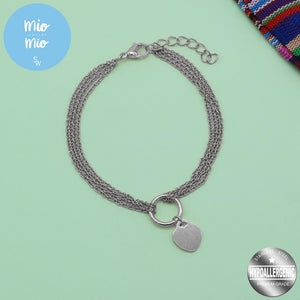 3 Layered Chain with Flat Heart Charm Bracelet