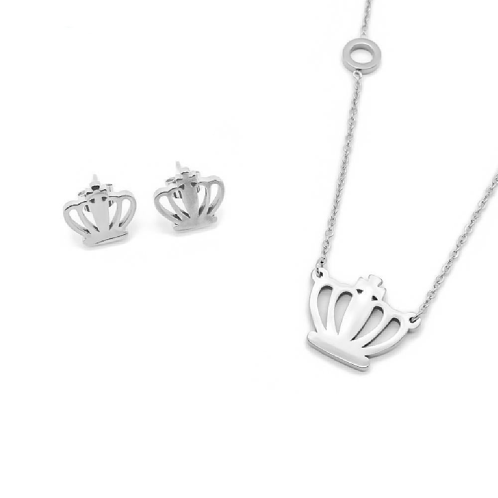 Sole Crown Design Necklace and Earrings Set