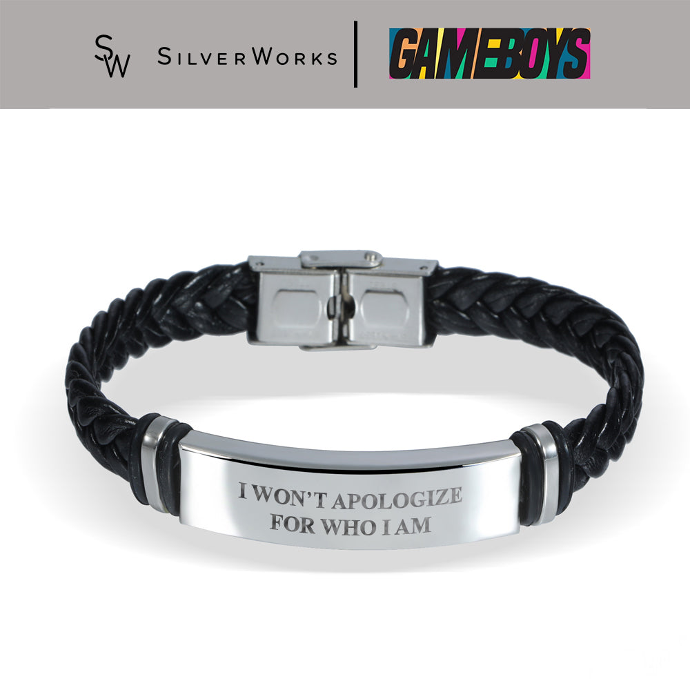Gameboys Collection Quote Engraved Braided Leather Bracelet