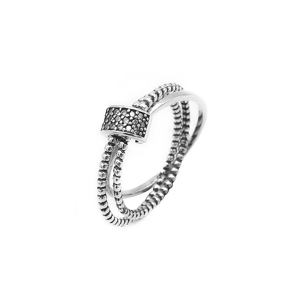 Irving Interlocking Plain and Rope Silver Ring