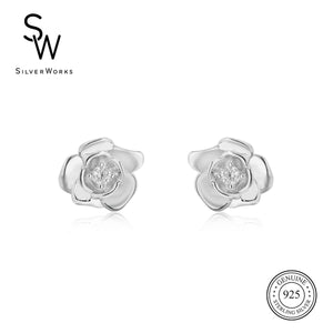 Load image into Gallery viewer, Disney® Belle Rose Stud Earrings