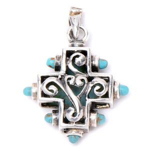 Celtic Oxidized Cross with Torquoise Pendant