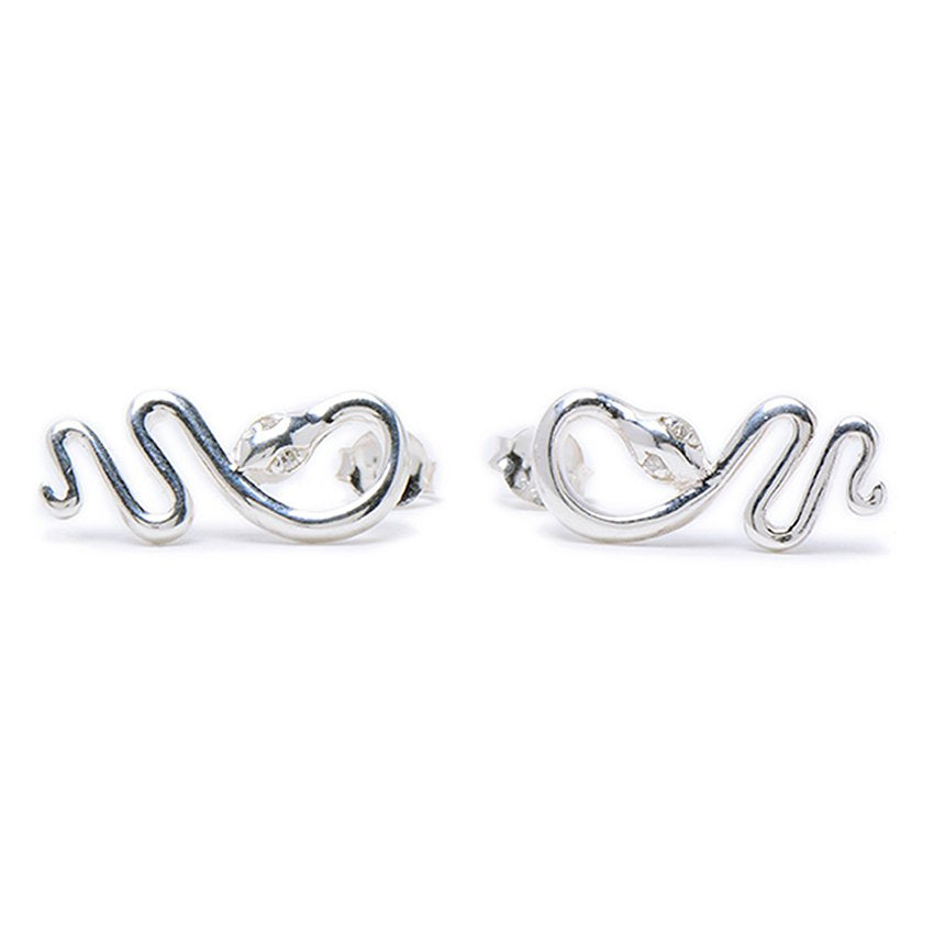 Load image into Gallery viewer, Mabel Polished Snake Silver Earrings with Cubic Zirconia Eyes
